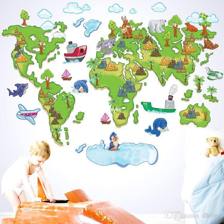 Bedroom Decoration World Map For Children Wall Stickers Tv - Map of europe for children