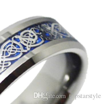 Chinese Dragon 8mm Fashion Jewelry Ring Tungsten Carbide Ring Blue Background silver dragon inlay for men and women TUR-005