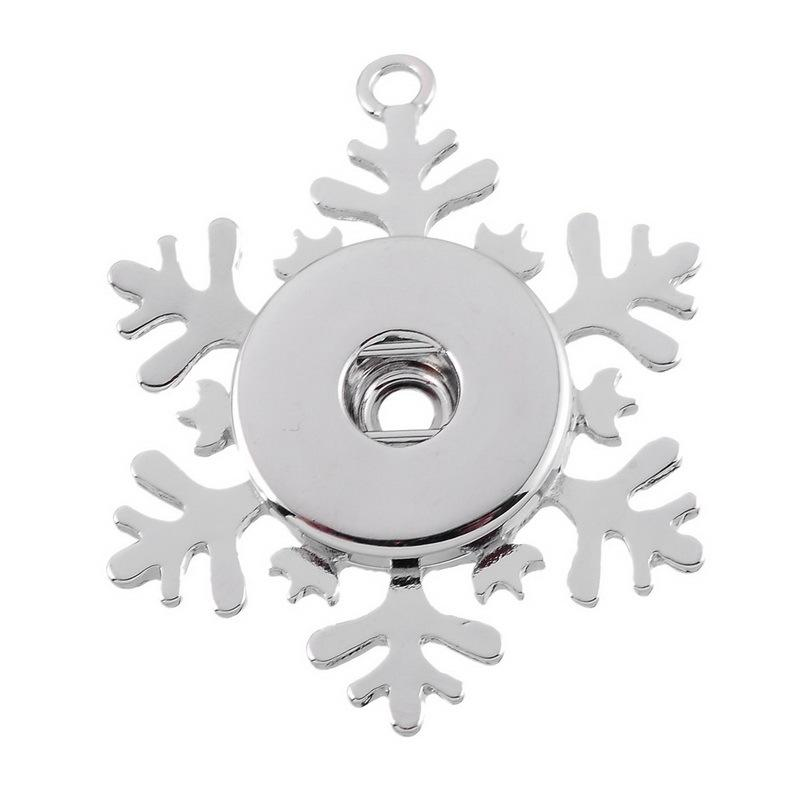 Hot Noosa chunk Snowflake pendant button snap jewelry 18mm nterchangeable Snap Buttons DIY Jewelry Ginger Snap