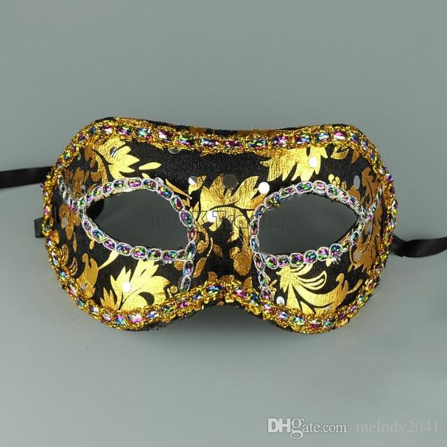 Barato 7 Cores Masquerade Máscara de Ouro Rosto Com Máscara de fronteira Unisex Projeto Meia Traje Máscara de Olho Bola Navio Livre
