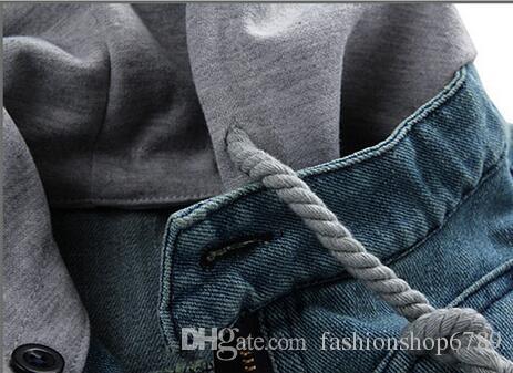 Мода мужчины джинсовые куртки с длинным рукавом со съемной шляпе промывают старинные человек Жан с капюшоном пальто Мужские Outwears