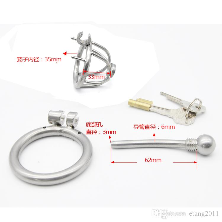 2016 New Latest design cage Stainless steel Male bondage devices catheter shape Bdsm Sex Toys For Men Chastity Belt Penis Rings