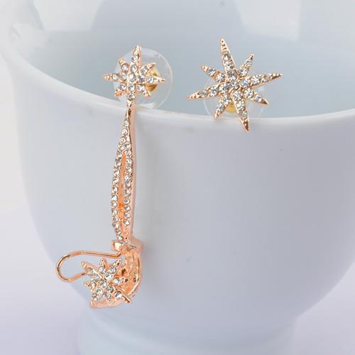 Hot Sale Star Ear Cuff Women Personality Luxury Clip Earrings For Women Fashion Crystal Ear Jacket Jewelry Wholesale
