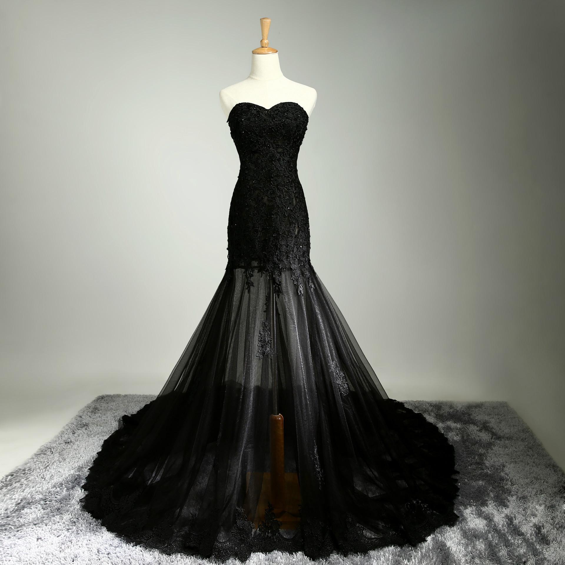 Black Wedding Dresses 2016 Mermaid Style Sweetheart Lace