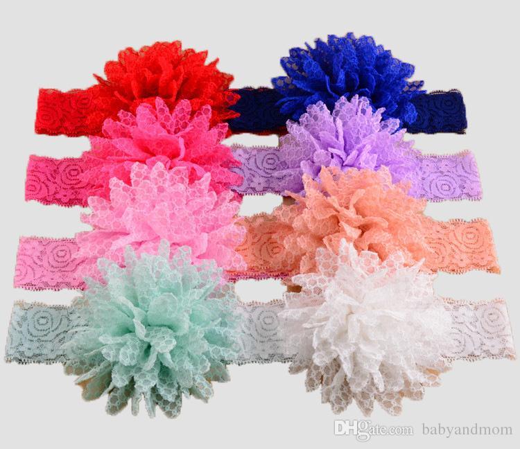 14 renkler Elastik Dantel Bantlar Çocuk Saç Aksesuarları Çocuklar Çiçek Bandı Saç Şeyler Bebek Saç Aksesuarları Çocuk Aksesuarları
