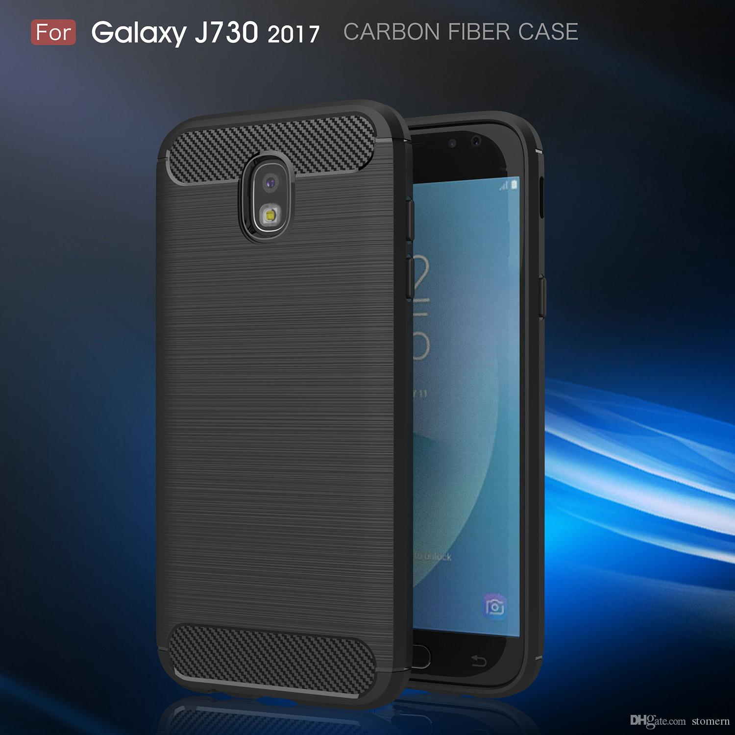 best loved d962e bdd15 Carbon Fiber Case For Samsung Galaxy J7 Pro J5 J3 2017 J330 J530 J730 EU  Brushed Silicone Soft Rubber Back Cover Slim Armor Rugged Skin