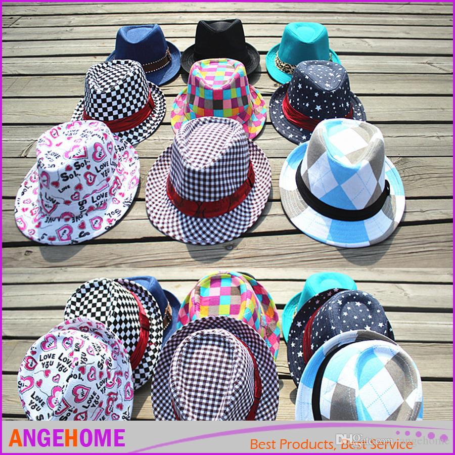 f37fdd910c5 2019 2016 Unisex Casual Fedora Trilby Hat Children Top Hat Jazz Cap  Children S Caps Fedoras Baby Hat From Angehome