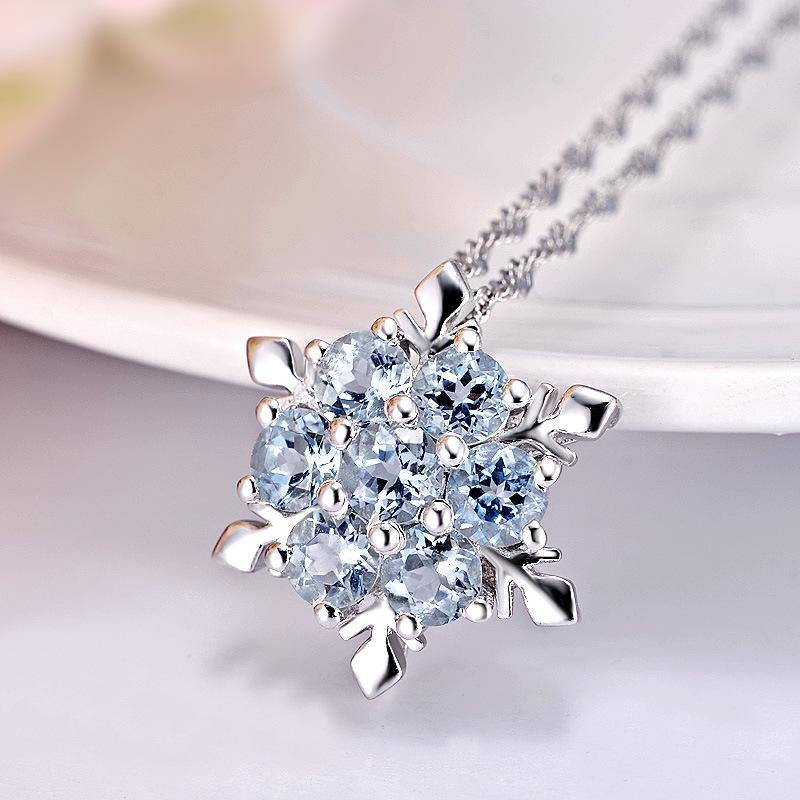 2016 hot sale Crystal Snowflake Pendant Necklace 925 Sterling Silver Pendant Necklace Frozen Style Snow Charm necklace