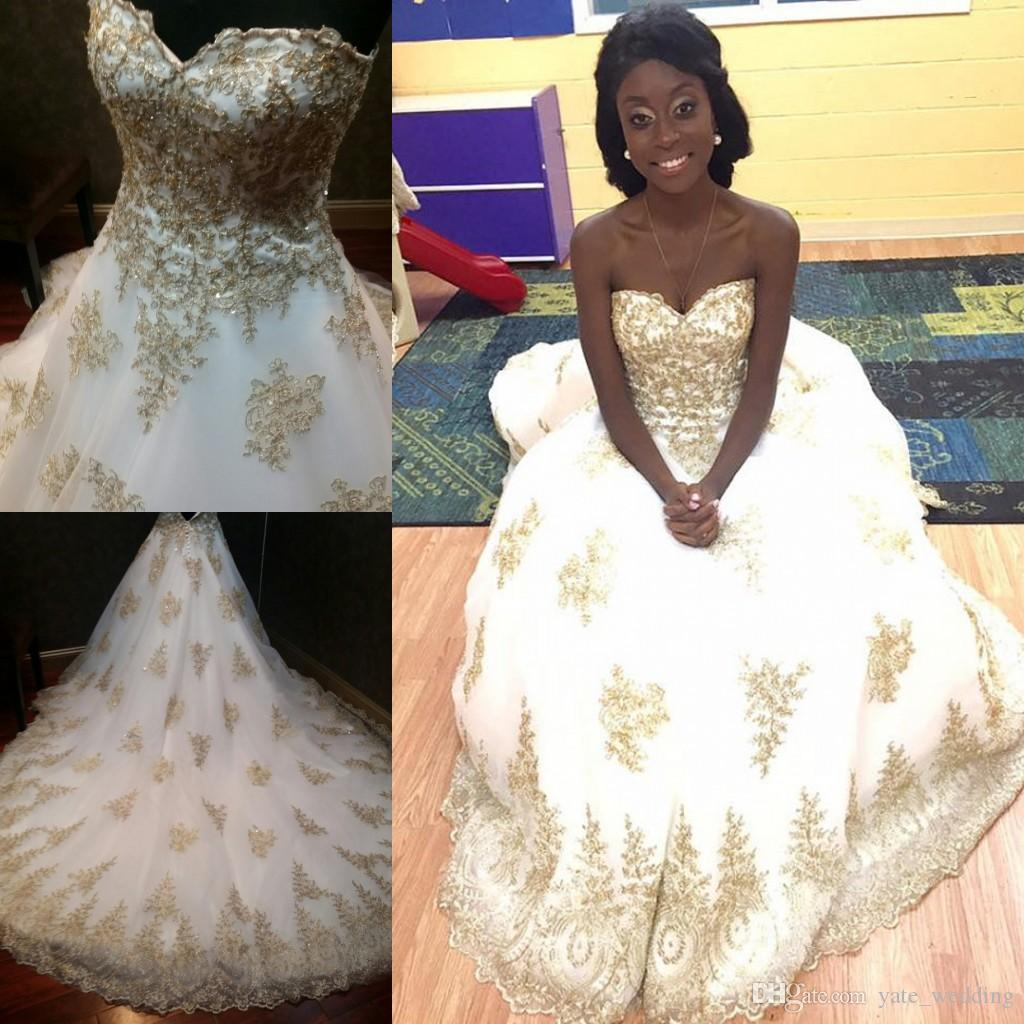 White Gold Ball Gown Wedding Dresses Sweetheart Sequins Beaded ...
