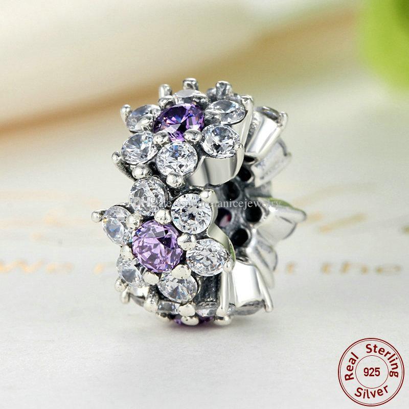 Beni Unutma Çiçek Paspayı Gümüş ile Mor Temizle CZ Pandora Stil için DIY Boncuklu Charm Bilezikler S294
