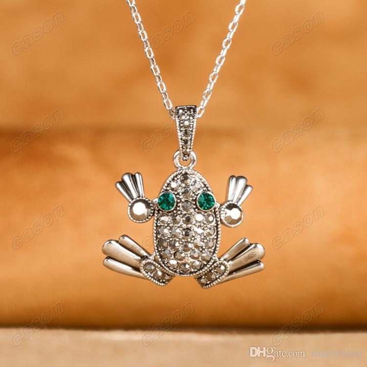 Cason Tibetan Silver Plated Classic Jewelry Sets Fancy Frog Pendant Necklaces and Earrings Costume Jewelry Sets XS131