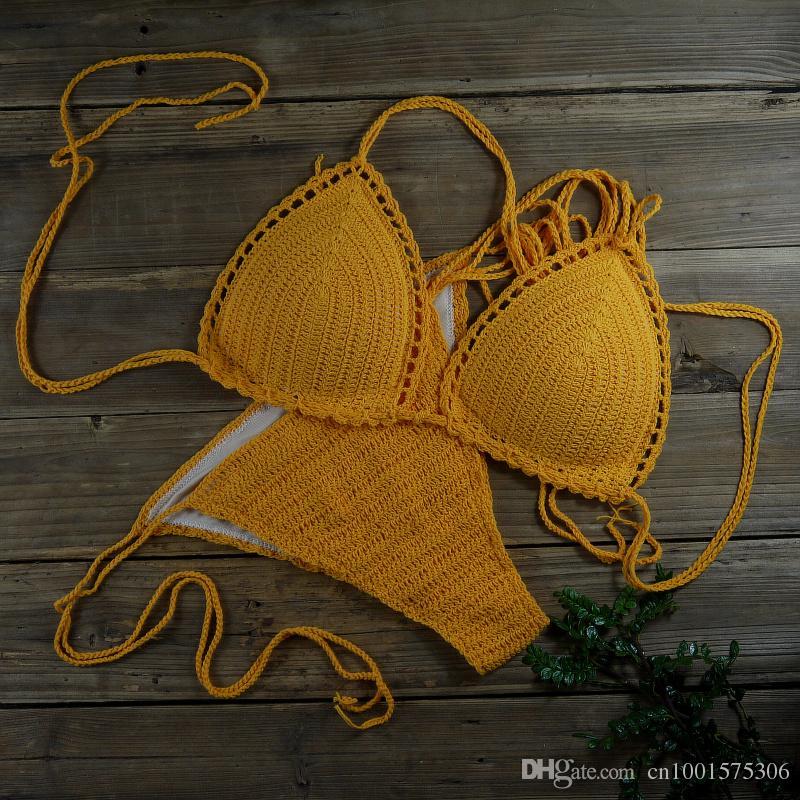 Ropa de baño de mujer hechos a mano traje de baño sexy bikini de ganchillo naranja - bañador de algodón forro es