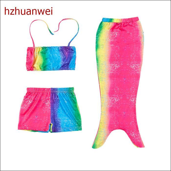 af77b6f782e 2019 2017 Rainbow Color Mermaid Princess Swimsuit Swimwear Cosplay Costume  Kids Girls Swimming Mermaid Tail Bikinis Set From Hwfashion, $8.11 |  DHgate.Com