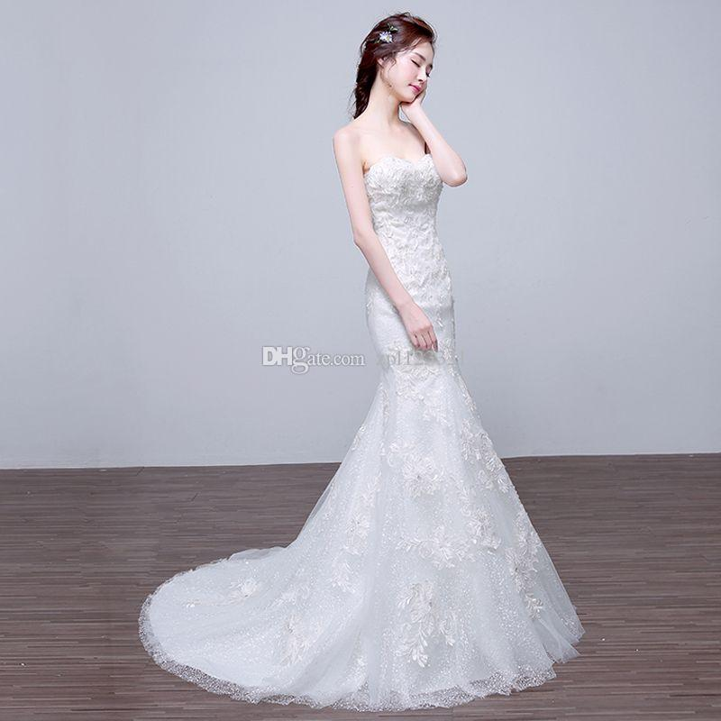 Korea Boob Tube Top And Lace Wedding Dress In 2016 Cheap Gowns Online China From Zpl123321 30151