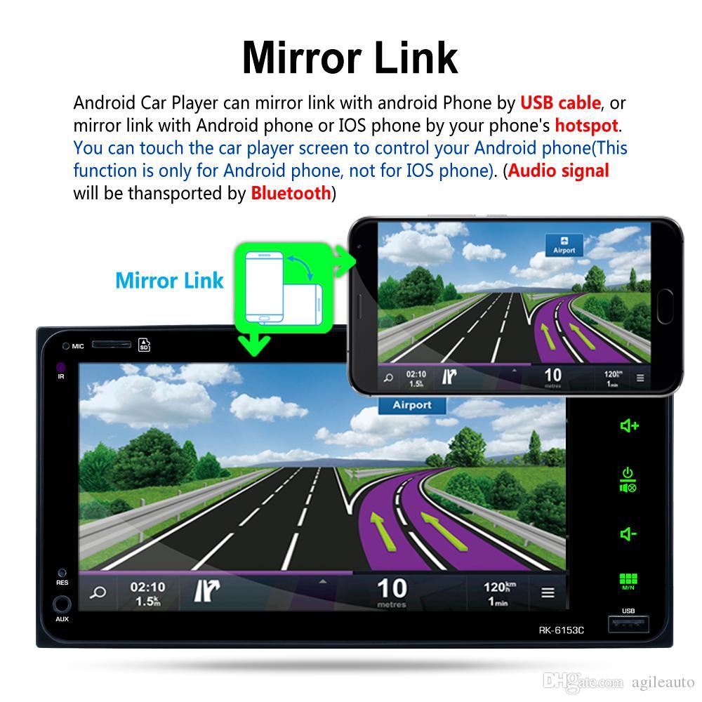 7 pulgadas RDS Android Navegación GPS Bluetooth Car Reproductor de video estéreo Radio Pantalla táctil Soporte para espejo + cámara de visión trasera para Toyota Camr
