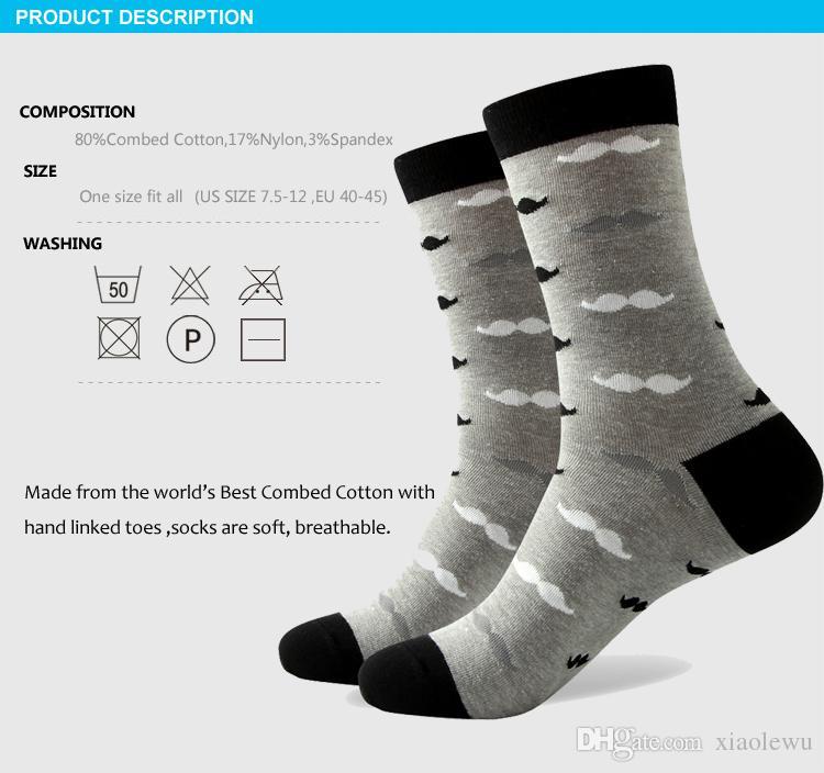 2016 heren gekamd katoen merk mannen sokken, kleurrijke snor sokken, gratis verzending, US size 7.5-12 324