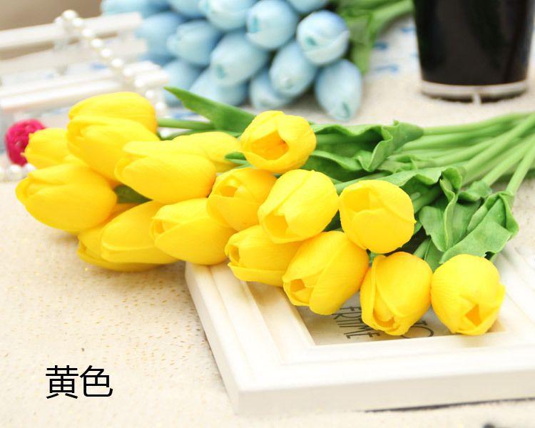 Yatak Masa dekorasyon lale pembe beyaz sarı renkli PU suni lale ekran çiçek hotsale dekoratif çiçek