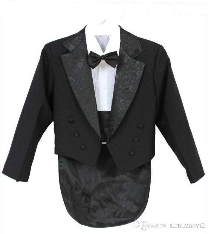 Elegante Kid Boy Hochzeitsanzug / Jungen Smoking / Boy Blazer / Gentlemen Boys Anzüge für Hochzeiten Jacke + Pants + Tie + Girdle + Shirt