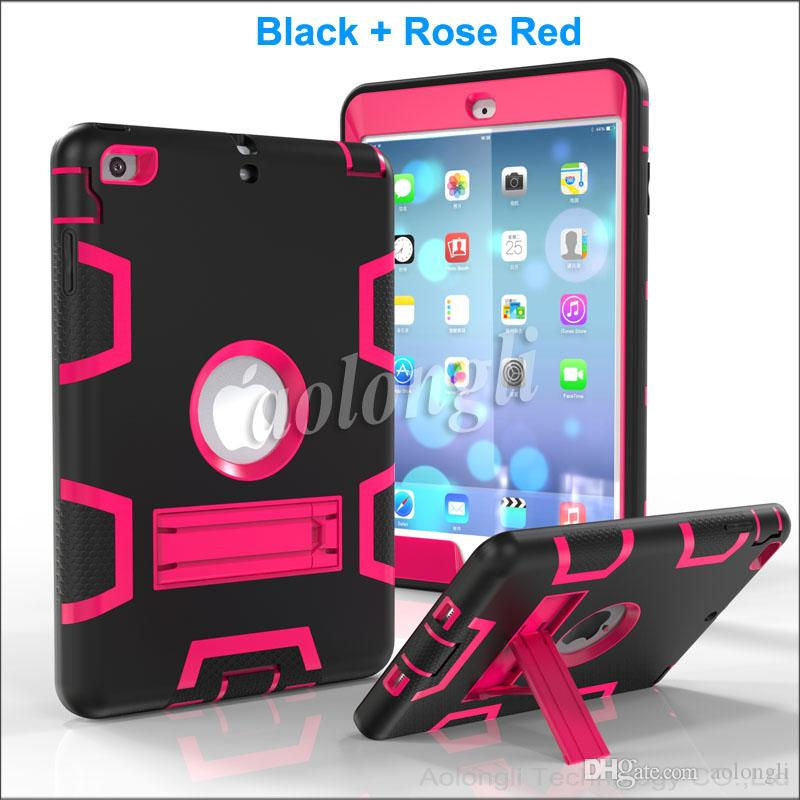 DHL 3 in 1 Shockproof kids Protector Case PC + Silicone Hybrid Robot Protect Screen Protector cover case for ipad mini 1 2 3