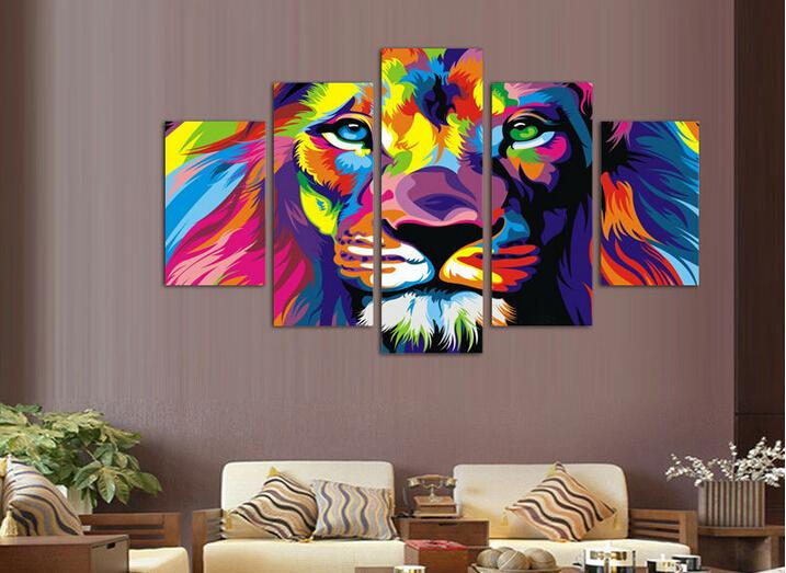 Framed 5 Panels Modern Animal Lion king Oil painting on canvas wall decoration Home wall art picture Print on canvas