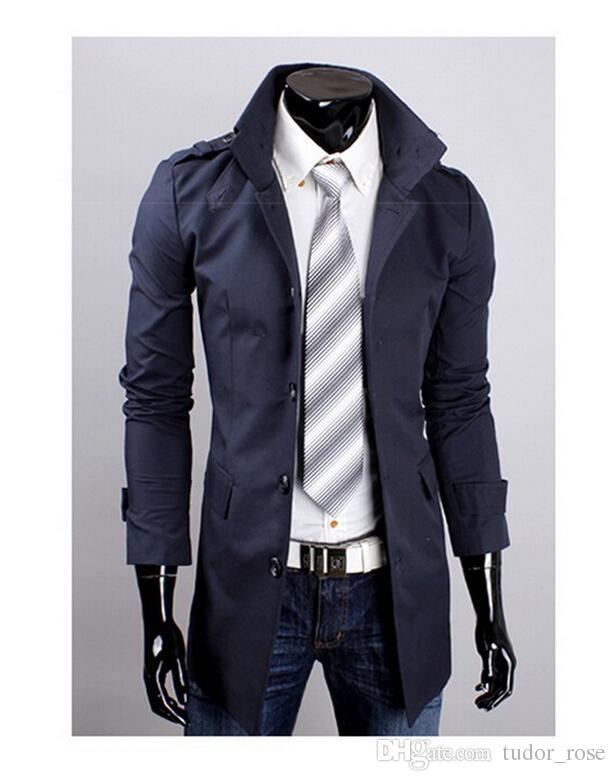 Новая мода мужская средняя длинная версия Однораспределительная кнопка Требовое пальто Мужской повседневная верхняя одежда Мужская куртка
