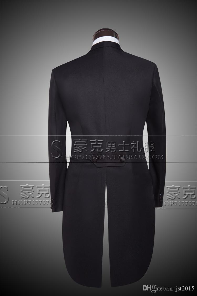 Wholesale-Custom Brand New cool Groom Tuxedos Men Wedding Dress Bridegroom Suit Best man Suit swallow-tailed coat Jacket+Pants+tie+vest