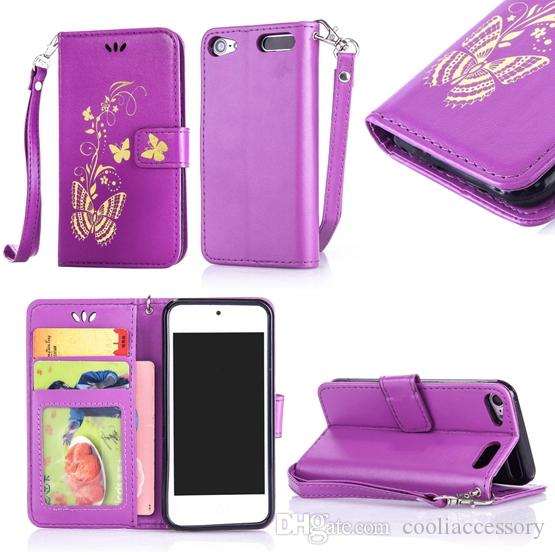 best website c66c0 c6ef6 Strap Butterfly Wallet Leather Case For Ipod Touch 5 6 Iphone X XS MAX XR 8  7 Plus 6S Samsung Galaxy S7 S6 EDGE J5 NOTE 9 Stand Photo Cover