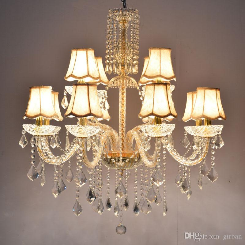 Longree Luxury Candle Crystal Chandelier Lighting Fixtures Modern LED lustres Red Hanging Lamps For Bedroom Living Room