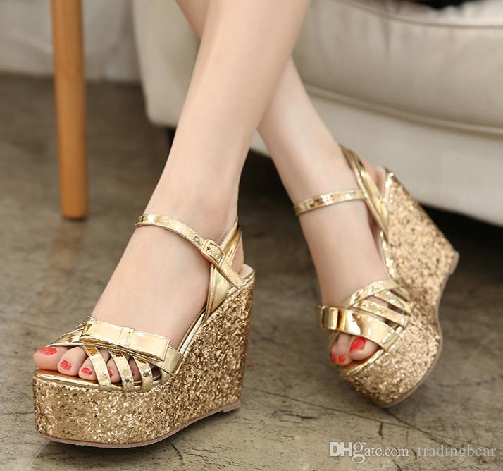 Comfortable Glitter Sequined Gold Silver Platform Wedges Ladies ...