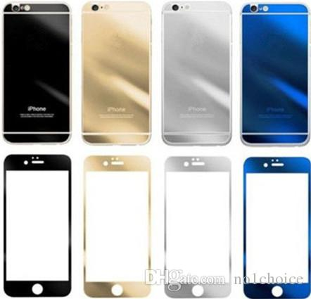 Colored Tempered Glass Film Guard Screen Protector For iPhone7 7plus 6s Explosion Proof 9H iPhone 5s 5c Plating Membrane Front and Back
