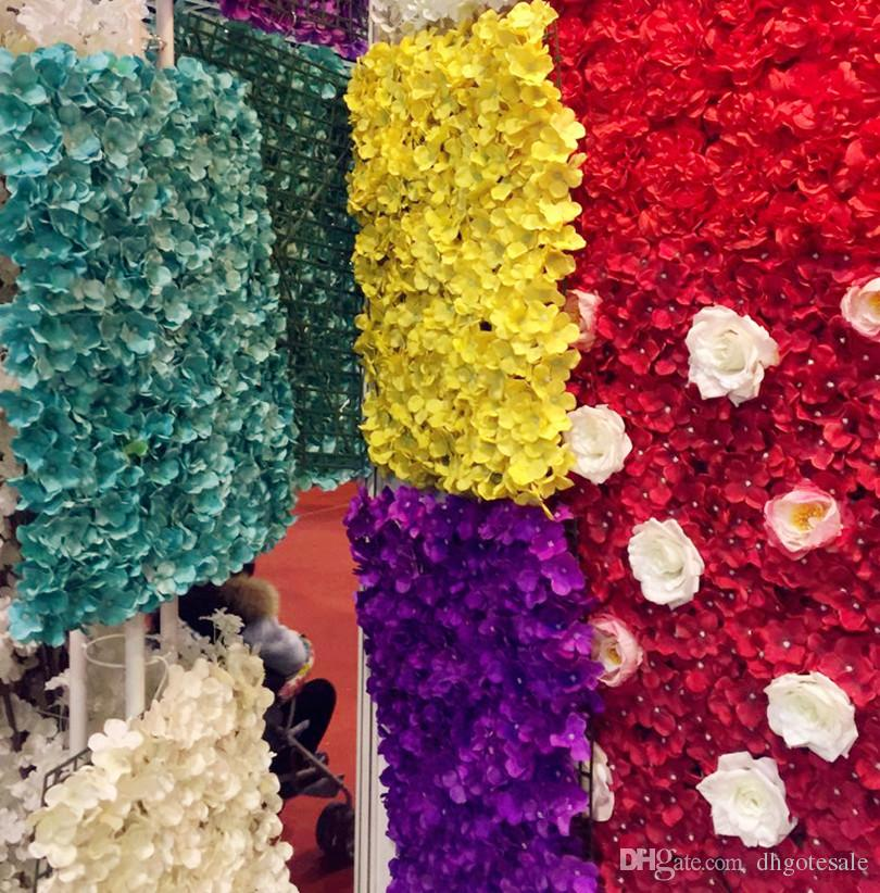 Artificial Hydrangea Flower Heads Plastics Flores Hortênsias Cabeça de Flor com haste para Wedding Party Decor Floral Centerpieces