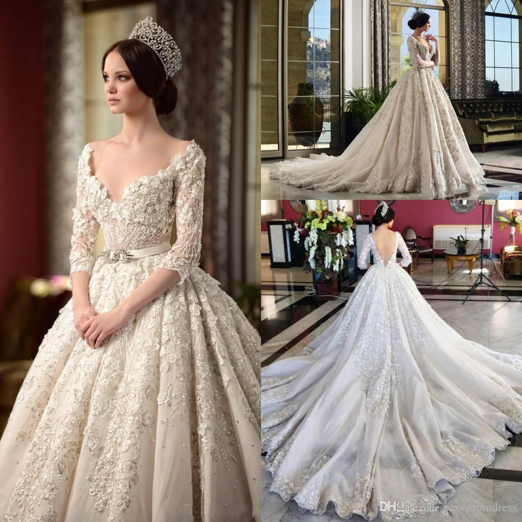 Luxury Chapel Train Ball Gown Wedding Dresses Lace Applique Sparkly ...