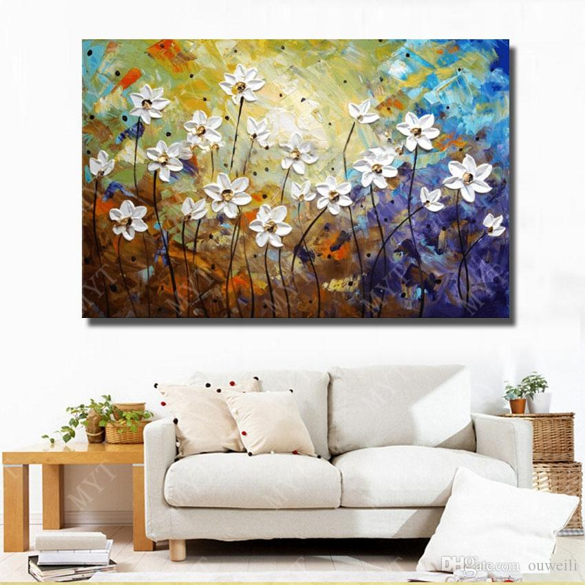 2016 new arrival product hand painted canvas oil painting modern wall art decor beautiful abstract flower oil painting