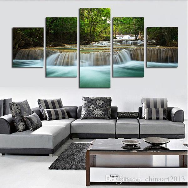 5 шт. современный HD печать живопись на холсте водопад река лес пейзаж живопись стены искусства фотографии украшения дома