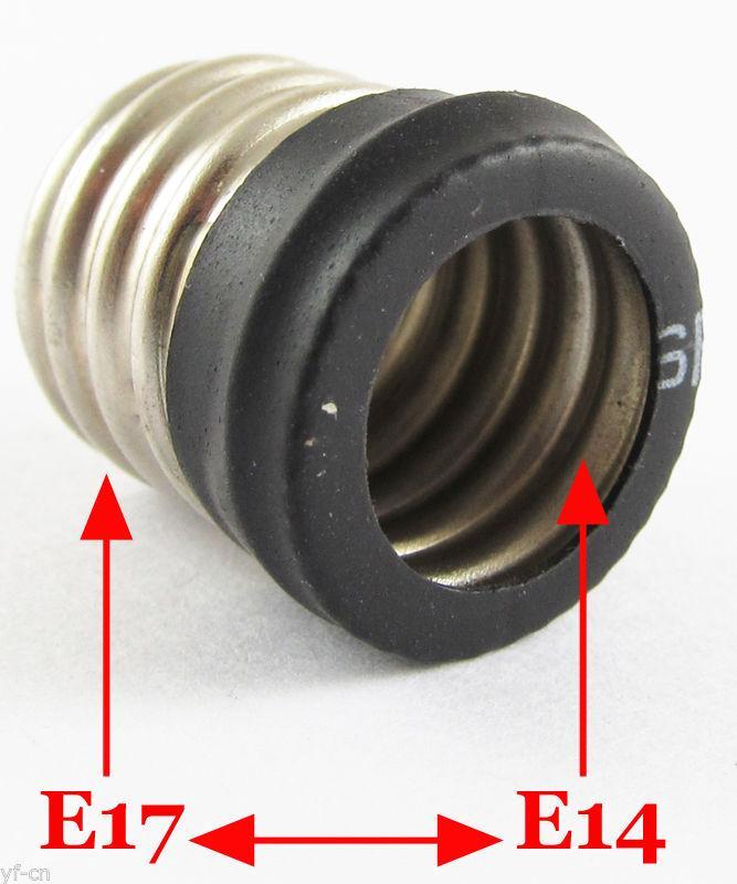 E17 Macho para E14 Feminino Base de Soquete de LED Halógena CFL Lâmpada Lâmpada Adaptador
