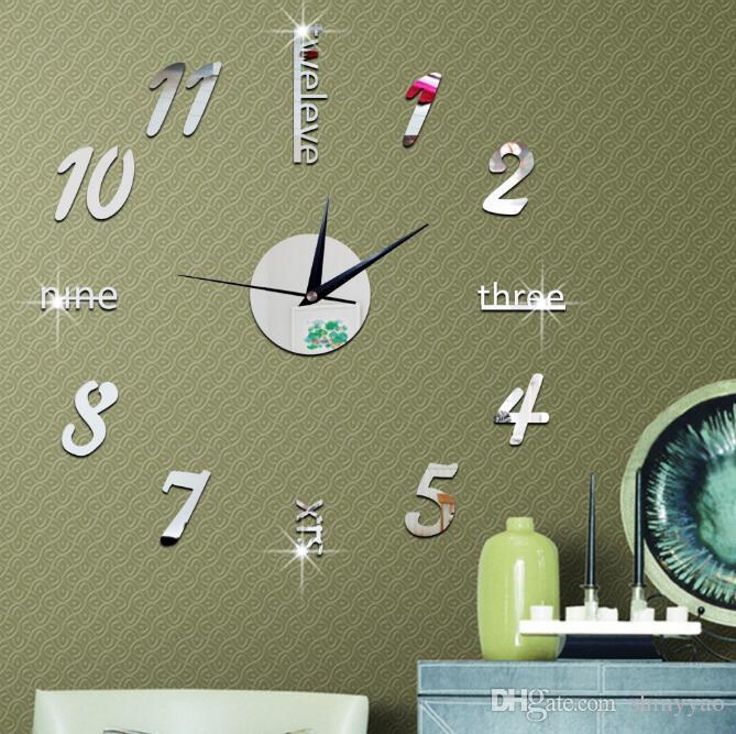 Criativo relógio de parede espelho decorativo acrílico espelho relógio relógio de parede digital sala de estar adesivos de parede