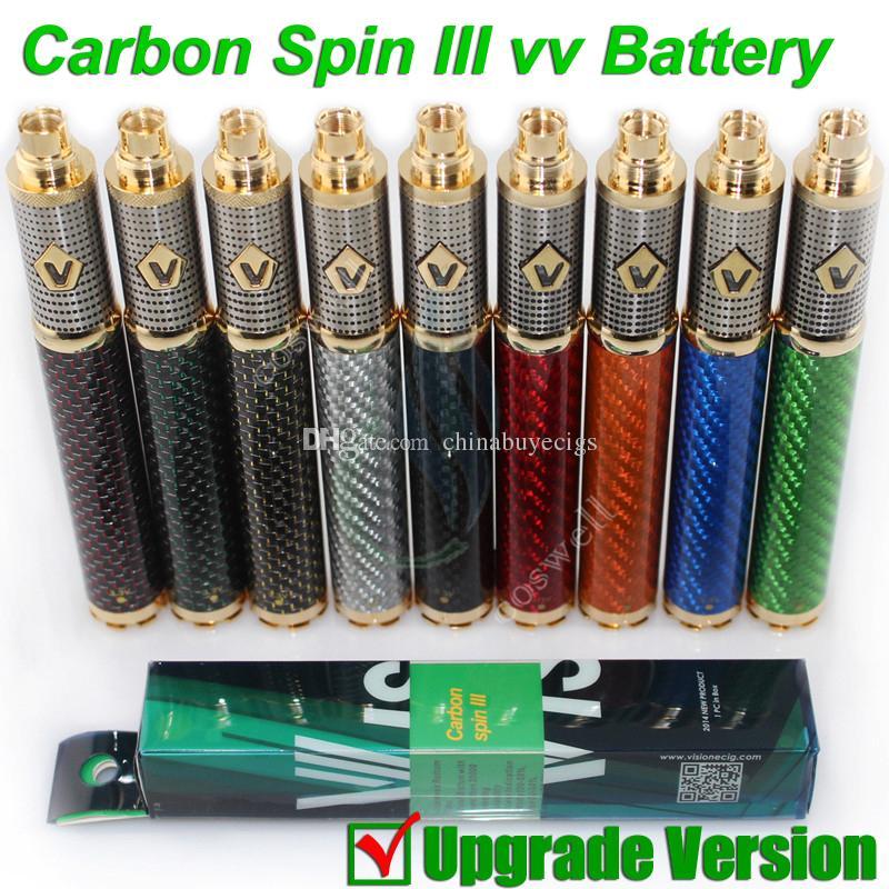 NOUVELLE Vision Carbon Spin III vapen 3 Fibre de Carbone 3.3-4.8V 1650mAh ego II Tension Variable vv batterie Tesla e cigarette cigarette atomiseur DHL