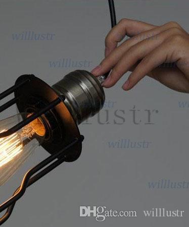 Vintage CAGE FILAMENT PENDANT illuminazione industriale Lampadina Edison nera singola lampada a sospensione RH LOFT Illuminazione stile country americano