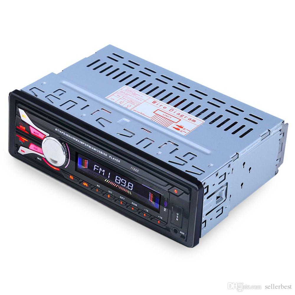 1188B FM AUX USB Hands-free Call for Vehicle Audio Device Bluetooth Car Radio Auto Audio Stereo Detachable Front Panel SD MP3 Player