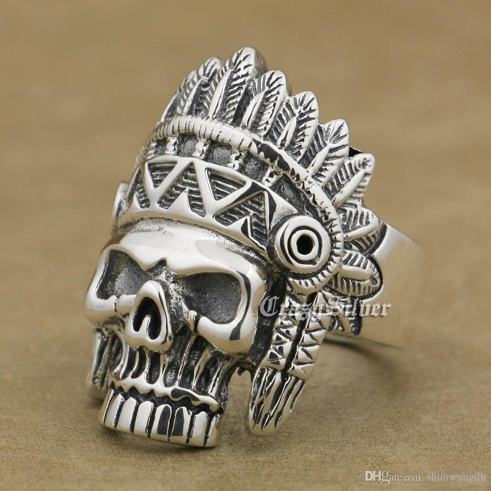 925 Sterling Silver Indian Chief Skull Mens Biker Rocker Punk Ring 9W020 US Size 7 ~ 15