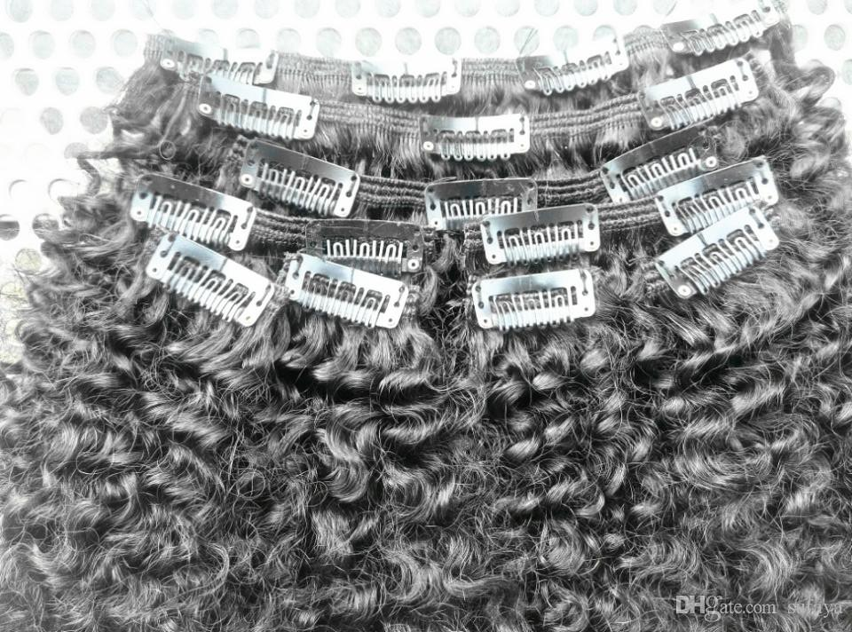 Brazilian Human Virgin Curly Clip In Hair Extensions Unprocessed Natural Black/Brown Color Afro Kinky Curl