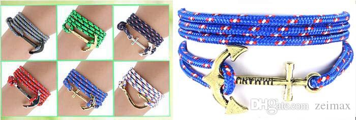 Hot Fashion pirate nautical navy anchor bracelet small fragrant wind woven simple bracelet DHL