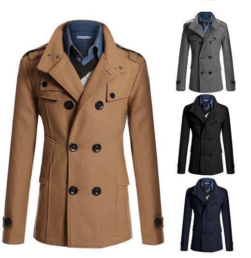 2017 Nice New Brand Winter Men'S Woolen Coats Men'S Wool Coat Turn ...