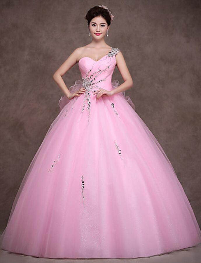 Abiti da quinceanera di tulle di alta qualità con una spalla in tulle Abiti da principessa 15-16 dolci in rosa chiaro