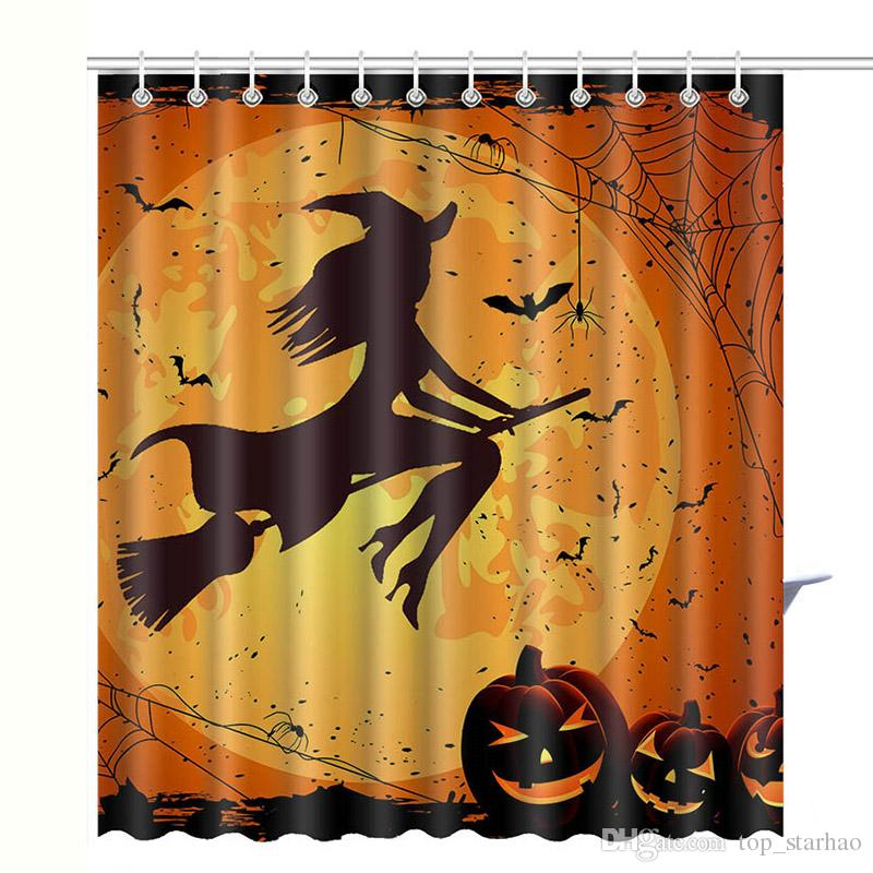 2019 2017 New Halloween Skull Pumpkin Shower Curtain Waterproof 3D Printed Bathroom Decoration With Hooks Free DHL XL 330 From Top Starhao