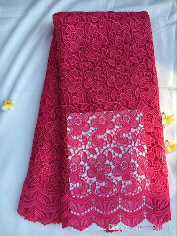 Beautiful fuchsia color african party cord lace with flower embroidery water soluble guipure lace fabric for dressing QW15-5