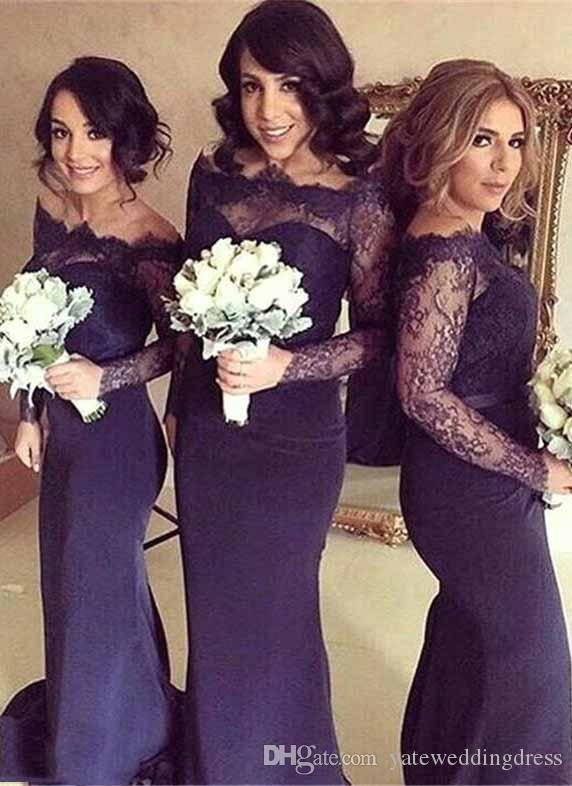 New Bridesmaid Dresses Bateau Sheer Neck Long Illusion Sleeves Wedding Guest Dress Back Zipper Mermaid Style Sweep Train Formal Party gowns
