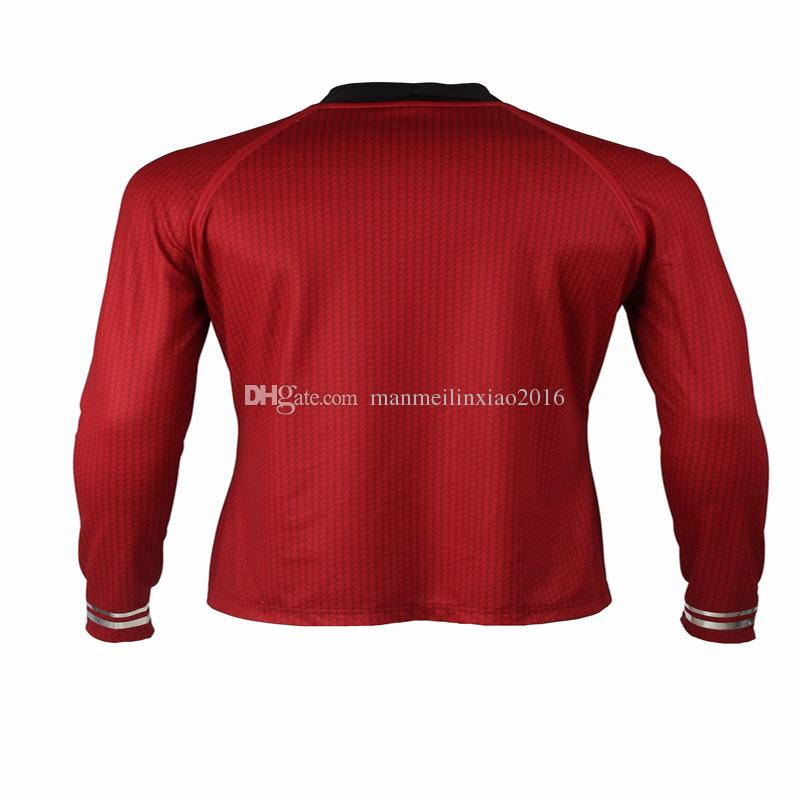 High Quality Customized Apparel COS Star Trek Into Darkness Star Fleet Tunic Shirt Red Costume Cosplay