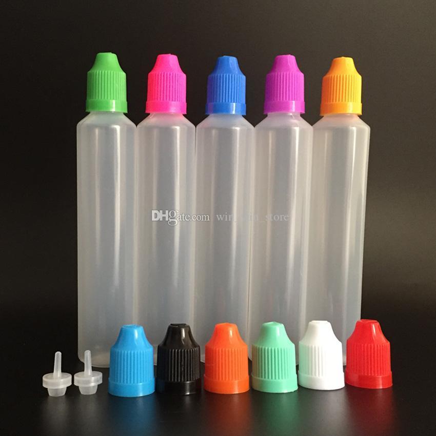 Kugelschreiber-Form-Flasche 60ml LDPE E-flüssige Flasche mit kindersicherer Kappe und langer dünner Spitze, lange Art-Plastiktropfflasche für E-Saft