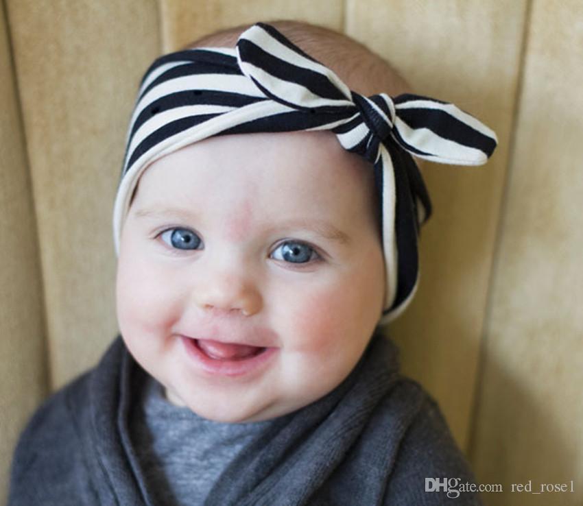 어린이 소녀 헤어 액세서리 키즈 머리띠 아기 소녀 부티크 머리 스트라이프 토끼 귀 머리 밴드 활 머리띠